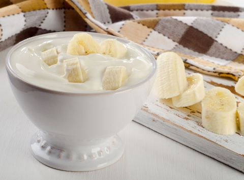 Yogurt with banana slices. https://www.info-on-high-blood-pressure.com/Eat-Right-For-Life.html