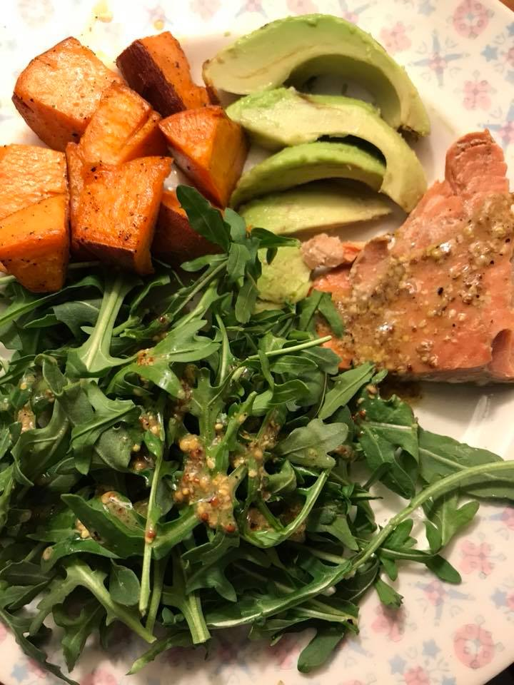 Salmon and Arugula meal. https://www.info-on-high-blood-pressure.com/Whole-Food-Based-Diet.html