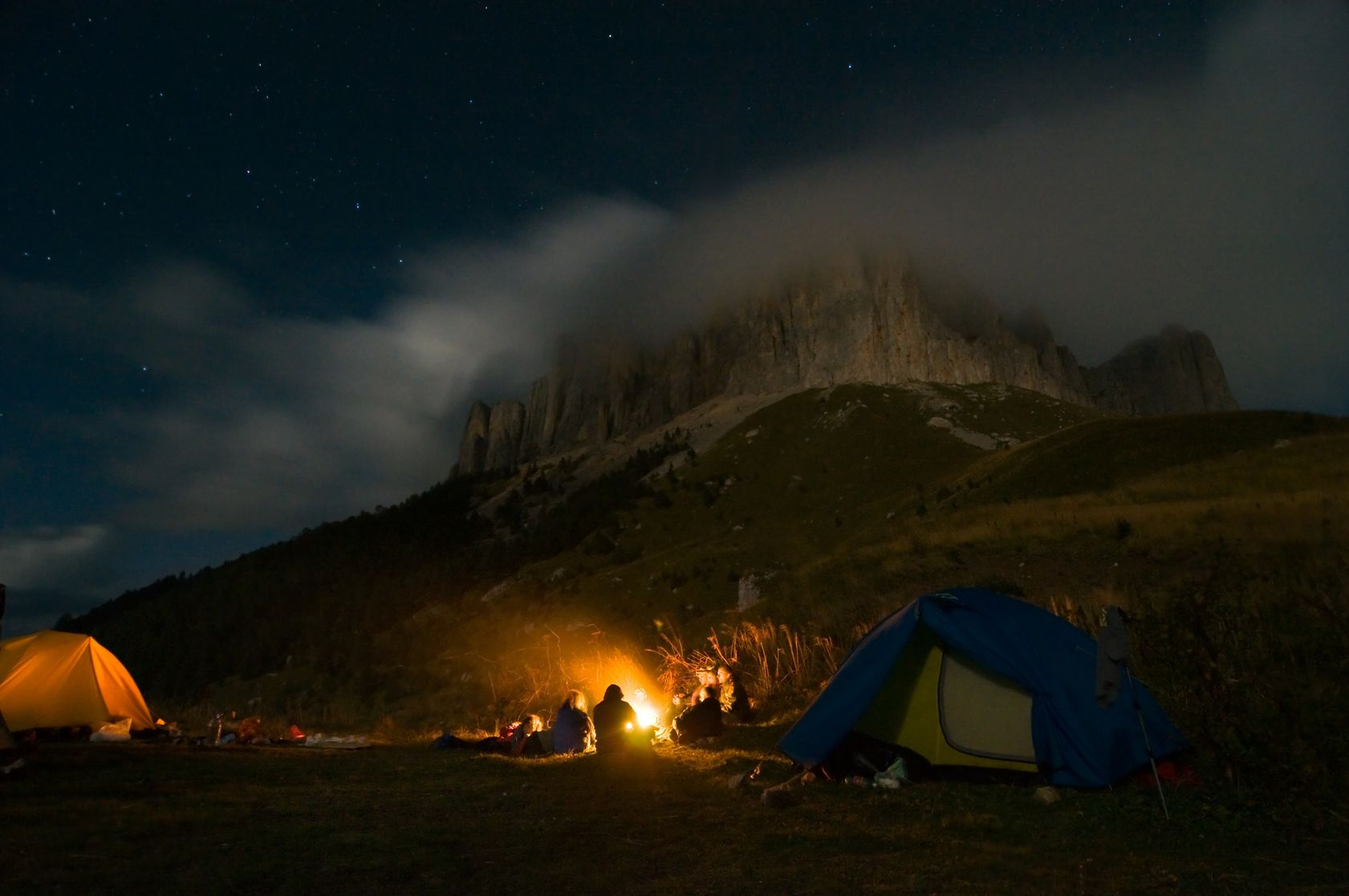Camping at night  https://www.info-on-high-blood-pressure.com/Circadian-Rhythms.html