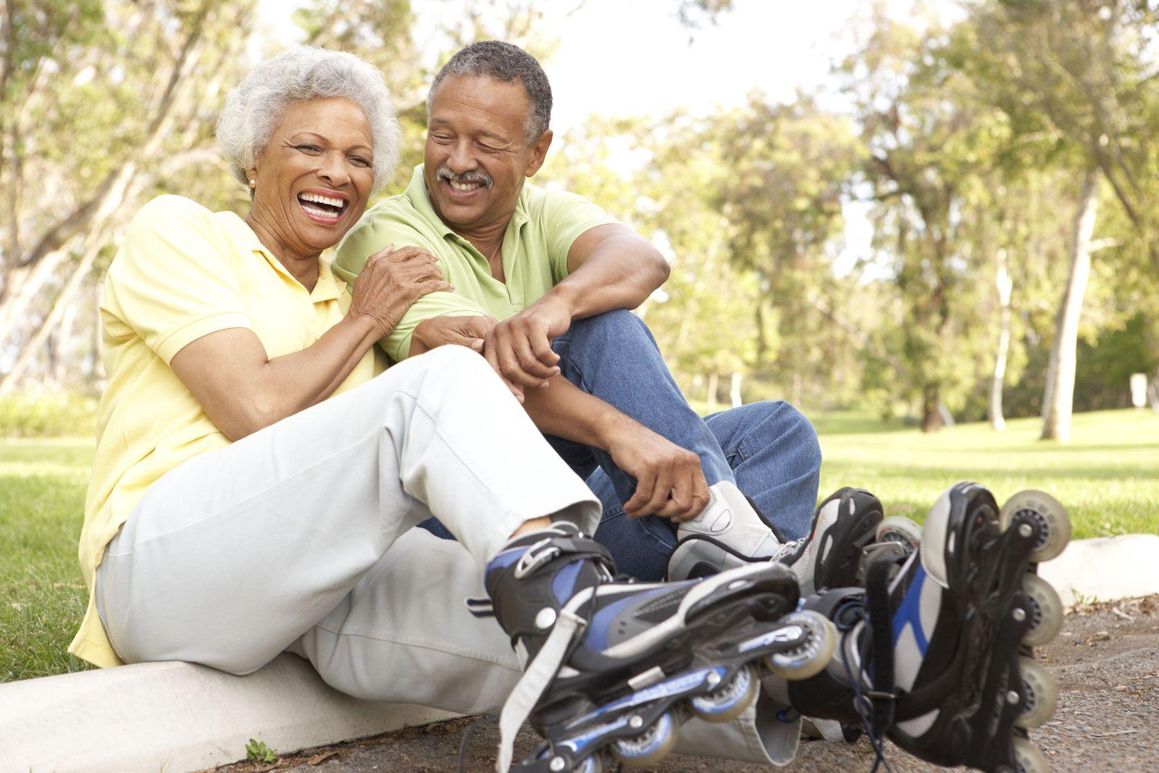 Senior couple aging well